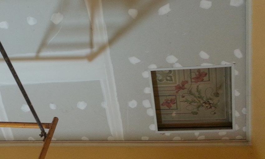 Agregado de un cieloraso con vista de la pintura del cieloraso original en el futuro Museo del Colegio