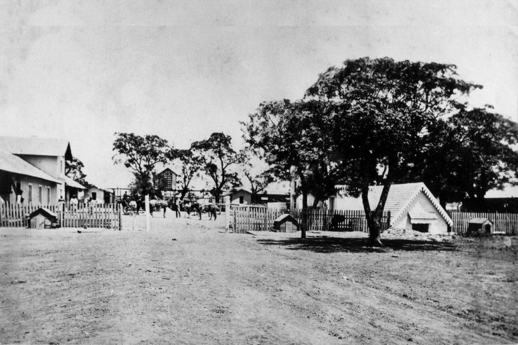 Caballerizas a la izquierda, palomar en el fondo y la camará frigorífica (semi enterrada) a la derecha (1870)